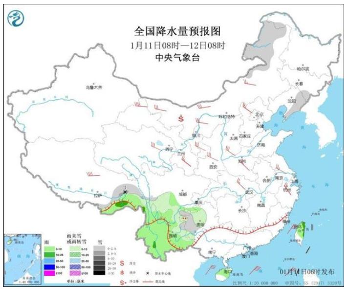 青藏高原东部云南等地有降温雨雪 局地降温可达8℃以上