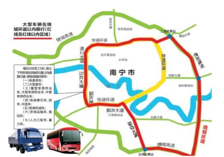 南宁市2021年春节期间市区内车辆限行路段、限行时间、限行制度最新告示