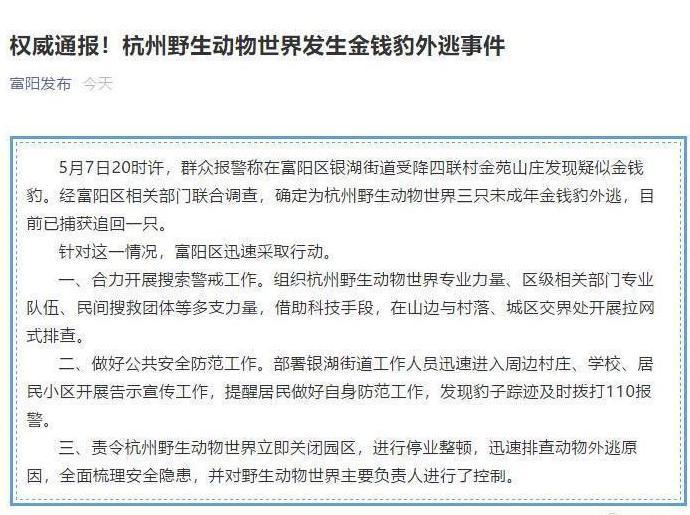 杭州3只金钱豹出逃已追回1只!杭州3只金钱豹出逃周围居民需要注意什么?