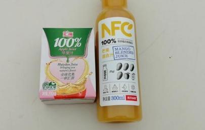 """外包装上标注100% 就是纯果汁吗?配料表有""""水""""还是100%果汁吗?"""