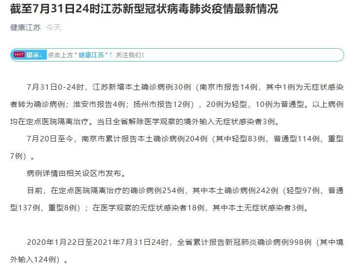 江苏新增本土确诊病例40例  其中南京市报告11例扬州市报告26例